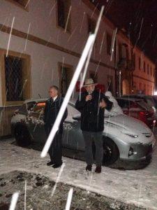 einsetzender Schneefall